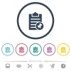 Note pin flat color icons in round outlines - Note pin flat color icons in round outlines. 6 bonus icons included.
