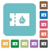 cruise discount coupon rounded square flat icons - cruise discount coupon white flat icons on color rounded square backgrounds