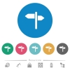 Signpost flat round icons - Signpost flat white icons on round color backgrounds. 6 bonus icons included.