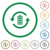 Renewable energy flat icons with outlines - Renewable energy flat color icons in round outlines on white background