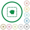 Drag item flat icons with outlines - Drag item flat color icons in round outlines on white background