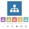 Network flat white icons in square backgrounds. 6 bonus icons included. - Network flat white icons in square backgrounds