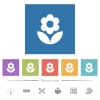 Flower flat white icons in square backgrounds. 6 bonus icons included. - Flower flat white icons in square backgrounds