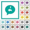 Quick reply message flat color icons with quadrant frames on white background - Quick reply message flat color icons with quadrant frames