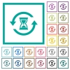 Reload symbol with sandglass flat color icons with quadrant frames - Reload symbol with sandglass flat color icons with quadrant frames on white background