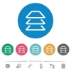 Multiple layers flat white icons on round color backgrounds. 6 bonus icons included. - Multiple layers flat round icons