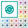 New Shekel pay back guarantee sticker flat color icons with quadrant frames - New Shekel pay back guarantee sticker flat color icons with quadrant frames on white background