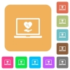 Online Dating on laptop rounded square flat icons - Online Dating on laptop flat icons on rounded square vivid color backgrounds.
