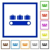 Luggage conveyor flat framed icons - Luggage conveyor flat color icons in square frames on white background