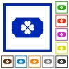 Lottery ticket flat framed icons - Lottery ticket flat color icons in square frames on white background
