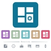 Dashboard settings flat icons on color rounded square backgrounds - Dashboard settings white flat icons on color rounded square backgrounds. 6 bonus icons included