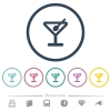 Cocktail flat color icons in round outlines. 6 bonus icons included. - Cocktail flat color icons in round outlines