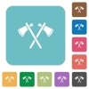 Two tomahawks rounded square flat icons - Two tomahawks white flat icons on color rounded square backgrounds