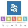 Euro Bitcoin money exchange flat white icons in square backgrounds. 6 bonus icons included. - Euro Bitcoin money exchange flat white icons in square backgrounds