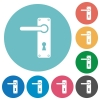 Left handed door handle with screws flat round icons - Left handed door handle with screws flat white icons on round color backgrounds