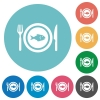 Fish for lunch flat round icons - Fish for lunch flat white icons on round color backgrounds
