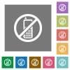 Cellphone not allowed square flat icons - Cellphone not allowed flat icons on simple color square backgrounds