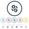 Yen Ruble money exchange flat color icons in round outlines - Yen Ruble money exchange flat color icons in round outlines. 6 bonus icons included.