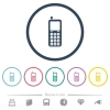 Retro mobile phone flat color icons in round outlines - Retro mobile phone flat color icons in round outlines. 6 bonus icons included.