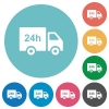 24 hour delivery truck flat round icons - 24 hour delivery truck flat white icons on round color backgrounds