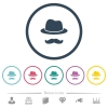 Incognito with mustache flat color icons in round outlines - Incognito with mustache flat color icons in round outlines. 6 bonus icons included.
