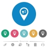 Voice navigation flat white icons on round color backgrounds. 6 bonus icons included. - Voice navigation flat round icons