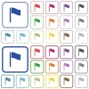 Flag outlined flat color icons - Flag color flat icons in rounded square frames. Thin and thick versions included.