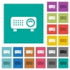 Video projector square flat multi colored icons - Video projector multi colored flat icons on plain square backgrounds. Included white and darker icon variations for hover or active effects.