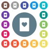 Heart card symbol flat white icons on round color backgrounds - Heart card symbol flat white icons on round color backgrounds. 17 background color variations are included.