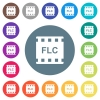 FLC movie format flat white icons on round color backgrounds - FLC movie format flat white icons on round color backgrounds. 17 background color variations are included.