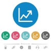 Line graph flat white icons on round color backgrounds. 6 bonus icons included. - Line graph flat round icons