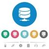 Network database flat white icons on round color backgrounds. 6 bonus icons included. - Network database flat round icons