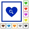 Dating flat framed icons - Dating flat color icons in square frames on white background