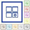 Dashboard settings flat framed icons - Dashboard settings flat color icons in square frames on white background
