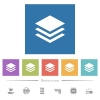 Layers flat white icons in square backgrounds. 6 bonus icons included. - Layers flat white icons in square backgrounds