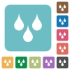 Water drops rounded square flat icons - Water drops white flat icons on color rounded square backgrounds