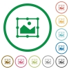 Image free transform flat icons with outlines - Image free transform flat color icons in round outlines on white background