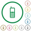 Retro mobile phone flat icons with outlines - Retro mobile phone flat color icons in round outlines on white background