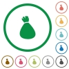 Money bag flat icons with outlines - Money bag flat color icons in round outlines on white background