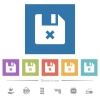 Cancel file flat white icons in square backgrounds - Cancel file flat white icons in square backgrounds. 6 bonus icons included.