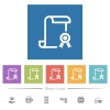 Scroll with certificate on right flat white icons in square backgrounds - Scroll with certificate on right flat white icons in square backgrounds. 6 bonus icons included.