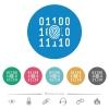 Digital fingerprint flat round icons - Digital fingerprint flat white icons on round color backgrounds. 6 bonus icons included.