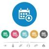 Calendar alarm flat round icons - Calendar alarm flat white icons on round color backgrounds. 6 bonus icons included.