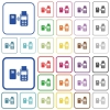 Contactless payment outlined flat color icons - Contactless payment color flat icons in rounded square frames. Thin and thick versions included.