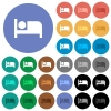 Hotel round flat multi colored icons - Hotel multi colored flat icons on round backgrounds. Included white, light and dark icon variations for hover and active status effects, and bonus shades.