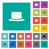 Silk hat multi colored flat icons on plain square backgrounds. Included white and darker icon variations for hover or active effects. - Silk hat square flat multi colored icons