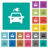 Electric car with connector multi colored flat icons on plain square backgrounds. Included white and darker icon variations for hover or active effects. - Electric car with connector square flat multi colored icons