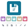 Descending file sort flat icons on color rounded square backgrounds - Descending file sort white flat icons on color rounded square backgrounds. 6 bonus icons included