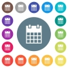 Single calendar flat white icons on round color backgrounds - Single calendar flat white icons on round color backgrounds. 17 background color variations are included.