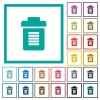 Full trash flat color icons with quadrant frames - Full trash flat color icons with quadrant frames on white background